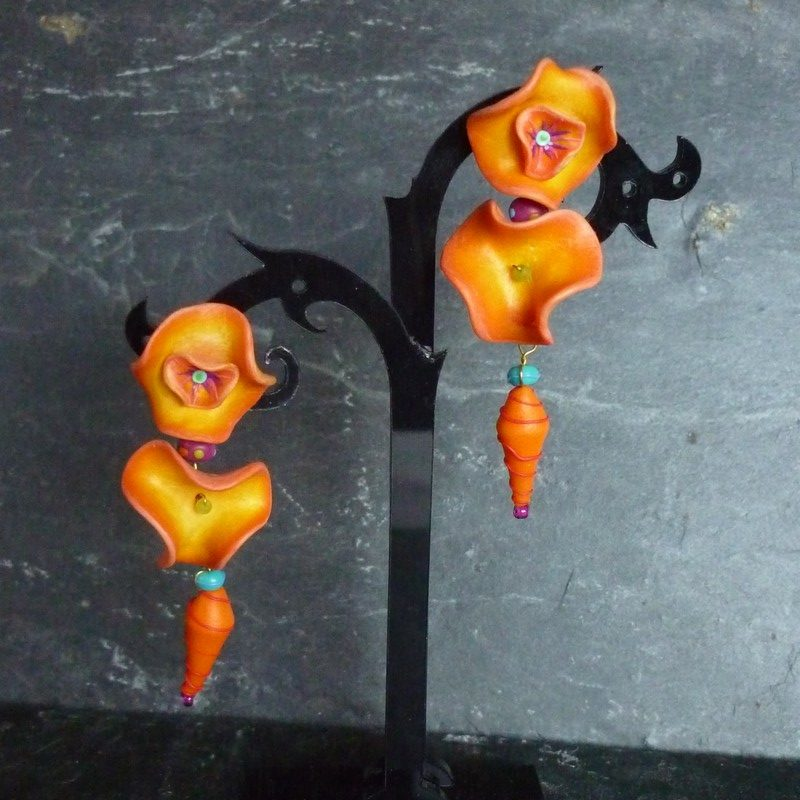 Boucles longues orange
