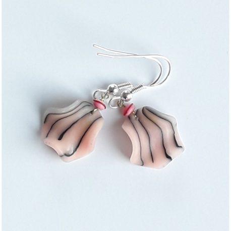 """boucles pétales """"zèbre rose"""" de 4 cm, rose poudré"""